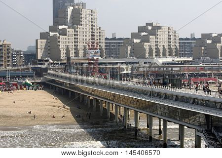 DEN HAAG, NETHERLANDS - JUNE 4: View on beach district Scheveningen with the Hotels and Promenade De Pier in Den Haag on June 4 2016