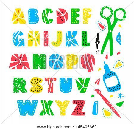 Stock vector hand drawn creative alphabet for your design. Color print on white background