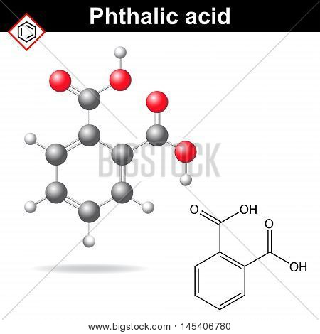 Phthalic acid molecule 2d and 3d illustration of molecular structure vector of chemical model eps 8