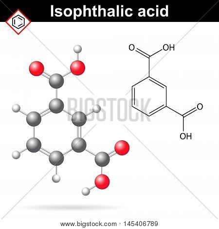 Isophthalic acid structure isophthalate molecule 2d and 3d illustration of molecular structure vector eps 8