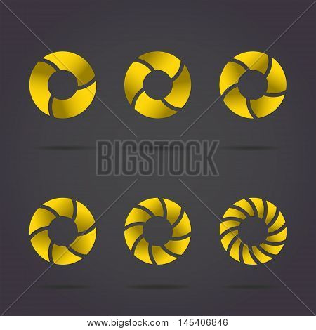 Segmented circles on dark background gold discs set 2d vector illustration eps 10