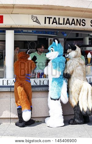 DEN HAAG, NETHERLANDS - JUNE 4: Also three '' Foxes'' would like to give in this hot summer ice cream on the beach district Scheveningen in Den Haag on June 4 2016