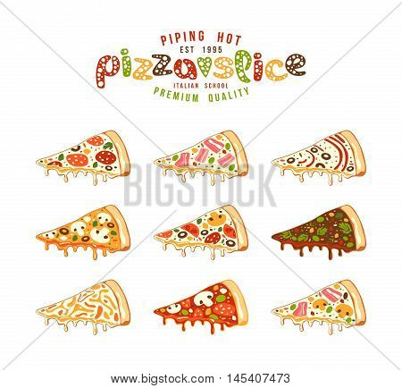 Stock Vector Illustration Of Pizza Slices