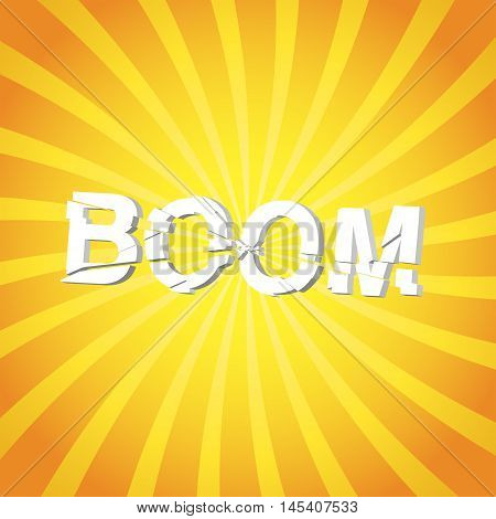 Explosion concept illustration boom text on sun rays vector background eps 10