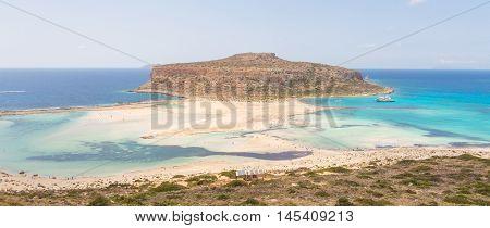 Breathtaking panorama of Balos beach and lagoon and Gramvousa island on Crete, Greece. Cap tigani in the center.