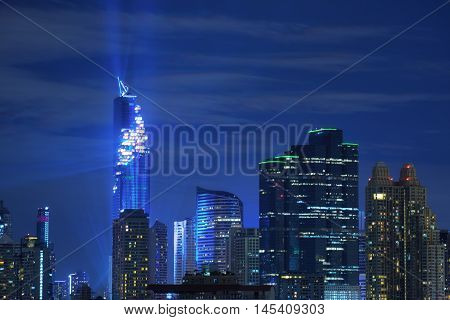 Mahanakorn Building with light up, the highest tower in Bangkok, Thailand.