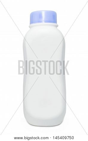 Plastic bottles of talcum powder on white background with clipping path