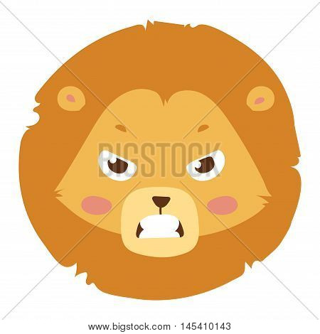 Cute animal lion head emotion vector avatar. Cartoon happy lion animal emotion expression isolated face character. Adorable mammal emojji avatar animal emotions. Animal lion character