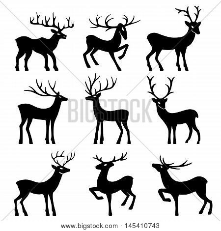 Nine black deer set silhouettes isolated on white background design for Xmas cards banners and flyers vector illustration isolated on white background