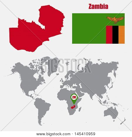 Zambia map on a world map with flag and map pointer. Vector illustration