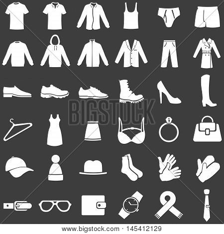 Vector Set Of  White Clothes Icons
