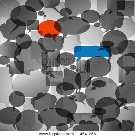 Abstract background made from anonymous speech bubbles with two different highlighted bubbles