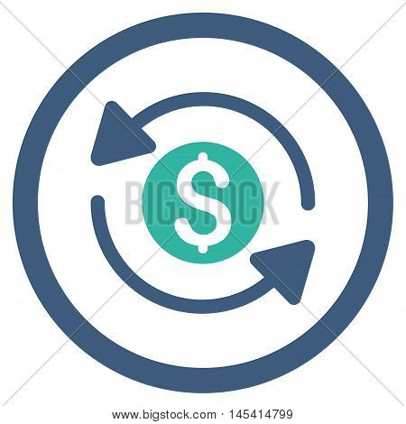 Money Turnover rounded icon. Vector illustration style is flat iconic bicolor symbol, cobalt and cyan colors, white background.