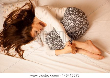 Sickness Stomach Ache Pain Period, Woman Suffering Isolated Over White Background