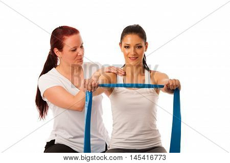 Physiotherapy - therapist doing arm strenghteninh excercises with a patient to recover strenght after injury poster
