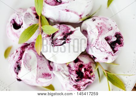 Delicious and beautiful blueberry meringues