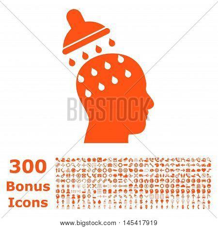 Brain Washing icon with 300 bonus icons. Glyph illustration style is flat iconic symbols, orange color, white background.