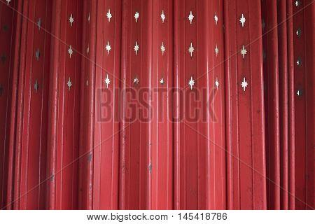 Close Up Antique Slide Steel Door, Old Style Of Closed Red Steel Door. Little Rusty On Steel Door. F