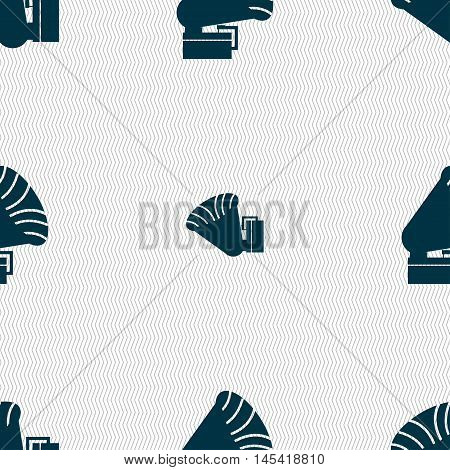 Gramophone Icon. Sign. Seamless Pattern With Geometric Texture. Vector