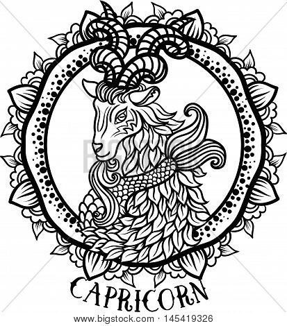 Detailed Capricorn in aztec filigree line art zentangle Paisley style. Tattoo coloring page for adult. T-shirt design. Zodiac Capricorn tribal decorative wool pattern. Vector