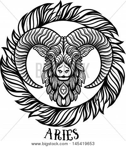 Detailed Aries in aztec filigree line art zentangle style. Tattoo coloring page for adult. T-shirt animals design. Zodiac Aries. tribal decorative wool pattern. Boho chic.Vector