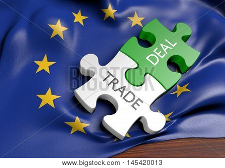 European Union trade deals and international commerce concept, 3D rendering