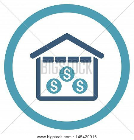 Money Depository rounded icon. Vector illustration style is flat iconic bicolor symbol, cyan and blue colors, white background.
