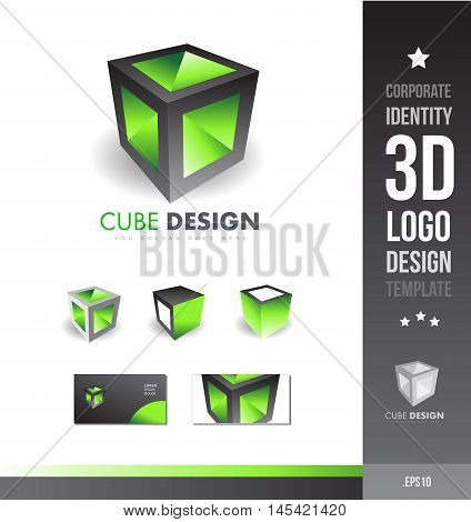 Corporate cube grey black green games business 3d logo icon vector company element template