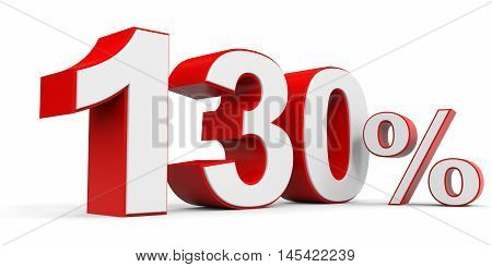 Discount 130 percent off on white background. 3D illustration.