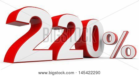 Discount 220 percent off on white background. 3D illustration.
