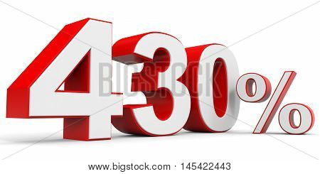 Discount 430 percent off on white background. 3D illustration.