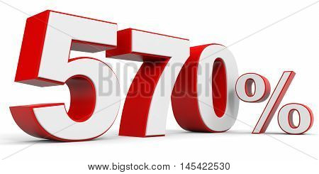 Discount 570 percent off on white background. 3D illustration.