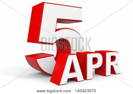 April 5. 3D Text On White Background.