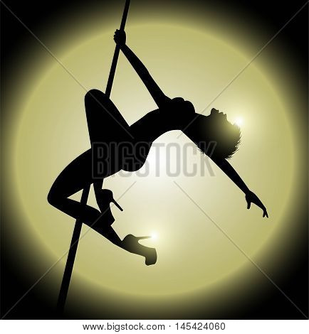 vector silhouette of woman practicing pole dance