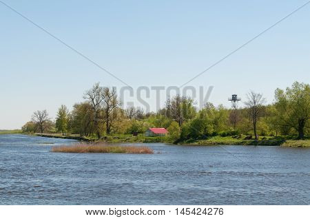 Russian Federation shore visible from the Rusne island rusne island lithuania