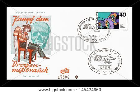 GERMANY - CIRCA 1975 : Cancelled First Day Cover letter printed by Germany, that shows Man on drugs.