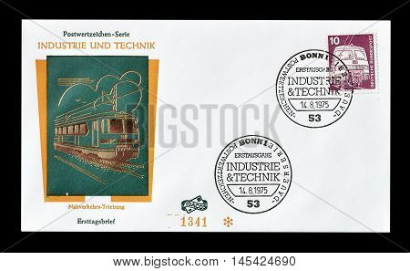 GERMANY - CIRCA 1975 : Cancelled First Day Cover letter printed by Germany, that shows Train.