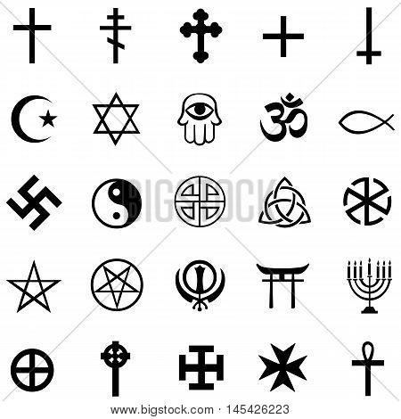 vector set of 25 black religious symbols