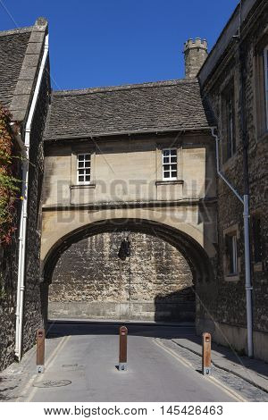 The Covered Bridge on Queens Lane in the historic city of Oxford England.