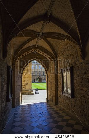 A view inside New College in Oxford England. It is one of the historic constituent colleges of Oxford University and where some scenes of the Harry Potter movies were filmed.