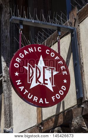 OXFORD UK - AUGUST 12TH 2016: The sign for a Pret A Manger outlet in the city of Oxford on 12th August 2016.