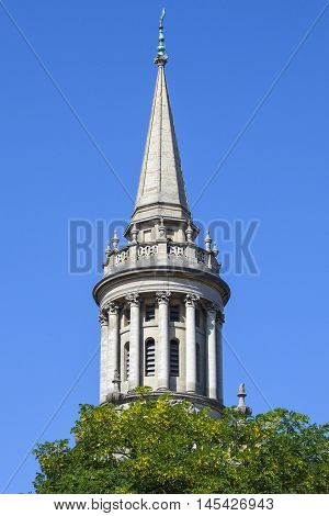 The spire of All Saints Church in Oxford. It now houses the library for Lincoln College - one of the historic colleges of Oxford University.