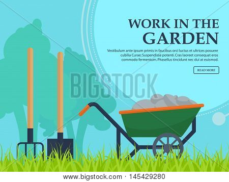Wheelbarrow, Shovel And Pitchfork To Work In The Garden On A Background Of Trees With Space For Your