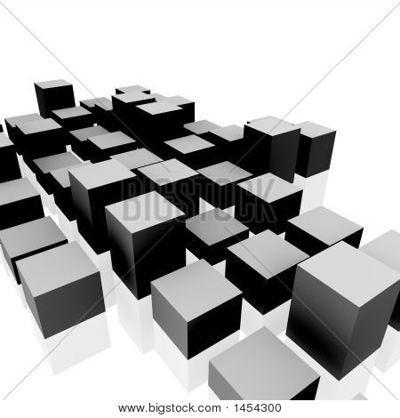 3D rendering of abstract cubes on white background. poster