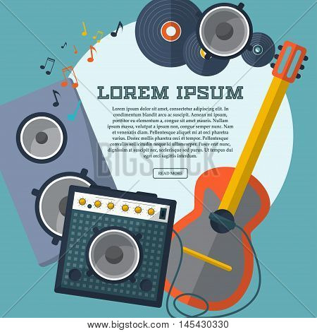 Set Of Guitar, Combo Amp, Speaker, Notes And Records With Space For Your Advertising. Frame. Vector