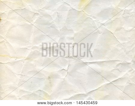 Old wrinkled dirty grey paper sheet for background. Closeup