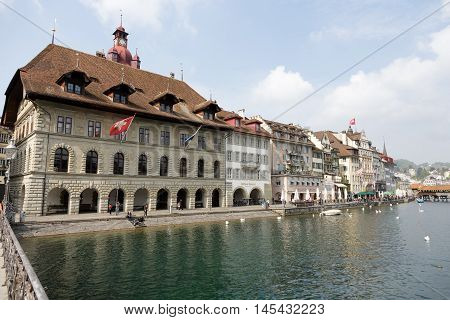 LUCERNE SWITZERLAND - MAY 02 2016: Town Hall was built in the early 1600s it is impresive building down by the river Reuss.