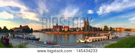 Panoramic view of ancient Ostow Tumski Island in Wroclaw, Poland