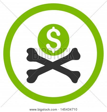 Mortal Debt rounded icon. Vector illustration style is flat iconic bicolor symbol, eco green and gray colors, white background.