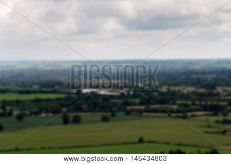 Cloudy View Over The Chilterns In Buckinghamshire Out Of Focus.